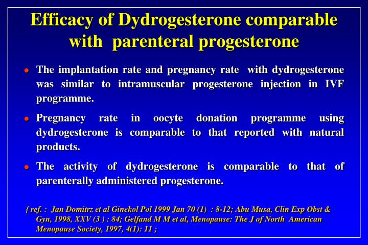 Efficacy of Dydrogesterone comparable with  parenteral progesterone