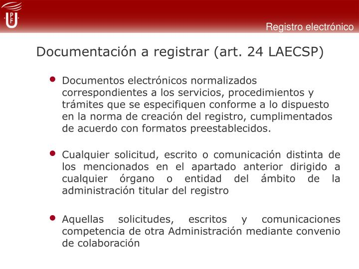 Documentación a registrar