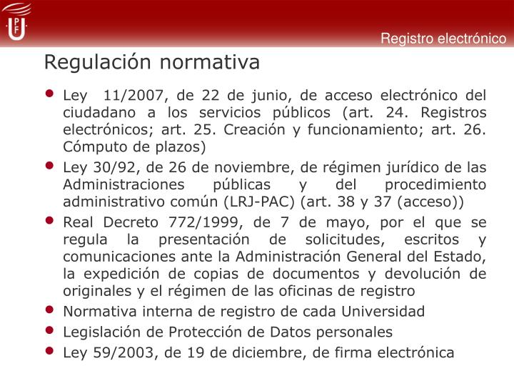 Regulación normativa