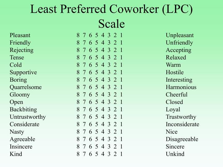 Least Preferred Coworker (LPC) Scale