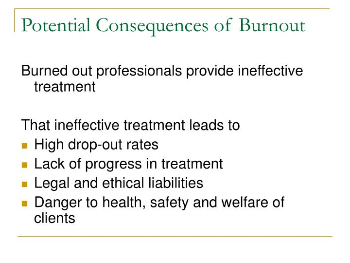 Potential Consequences of Burnout