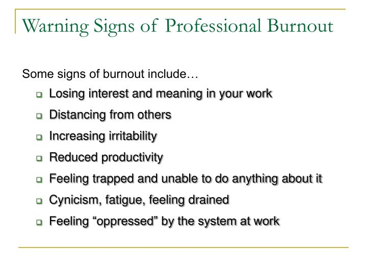 Warning Signs of Professional Burnout