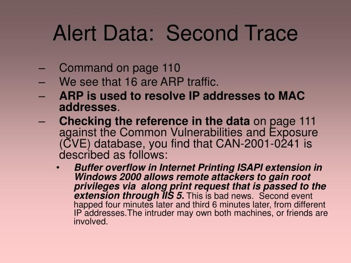 Alert Data:  Second Trace