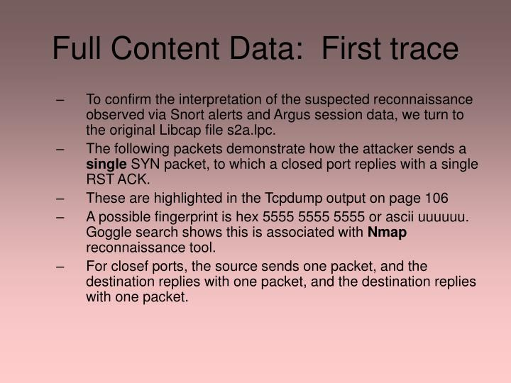 Full Content Data:  First trace