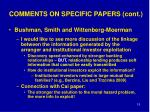 comments on specific papers cont