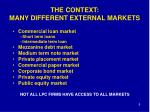 the context many different external markets