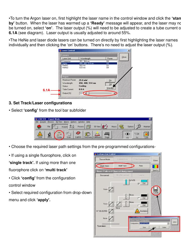To turn the Argon laser on, first highlight the laser name in the control window and click the