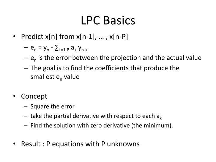 LPC Basics