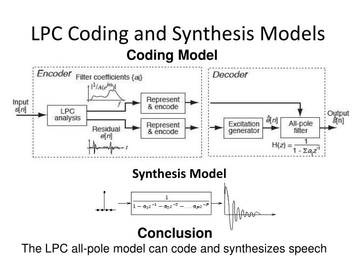 LPC Coding and Synthesis Models