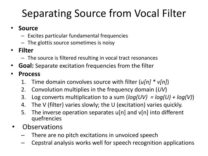 Separating Source from Vocal Filter