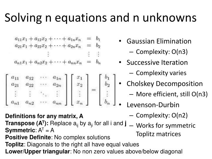 Solving n equations and n unknowns
