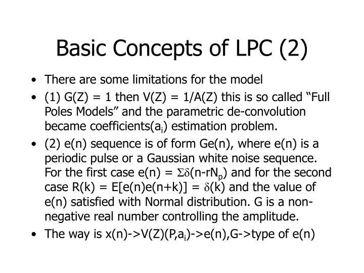 Basic Concepts of LPC (2)
