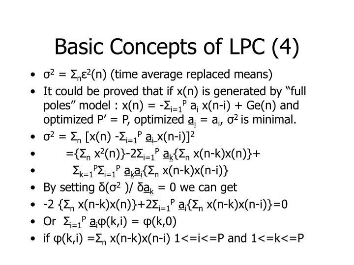 Basic Concepts of LPC (4)