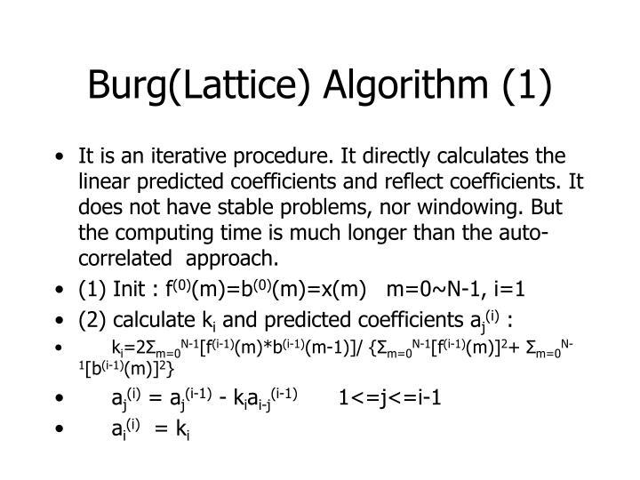 Burg(Lattice) Algorithm (1)