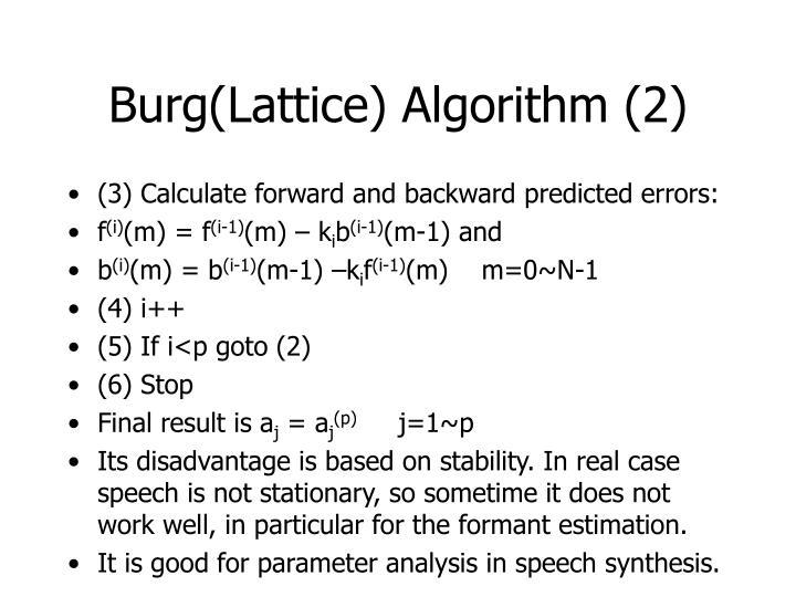 Burg(Lattice) Algorithm (2)
