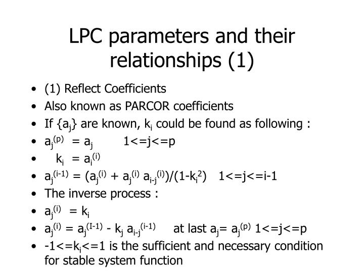 LPC parameters and their relationships (1)