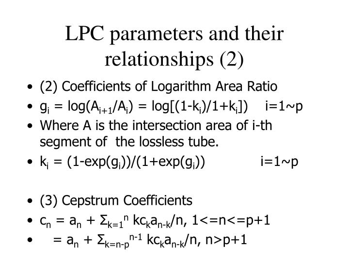 LPC parameters and their relationships (2)