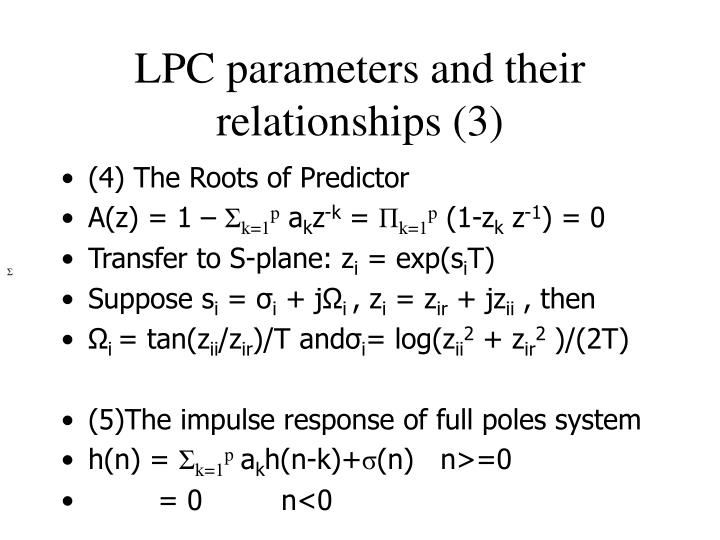 LPC parameters and their relationships (3)