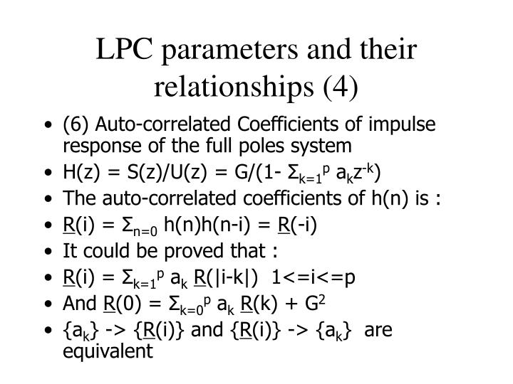 LPC parameters and their relationships (4)