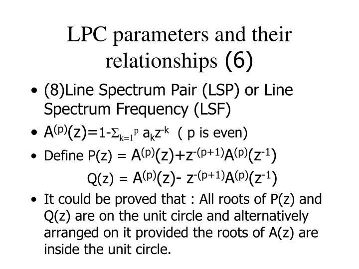 LPC parameters and their relationships