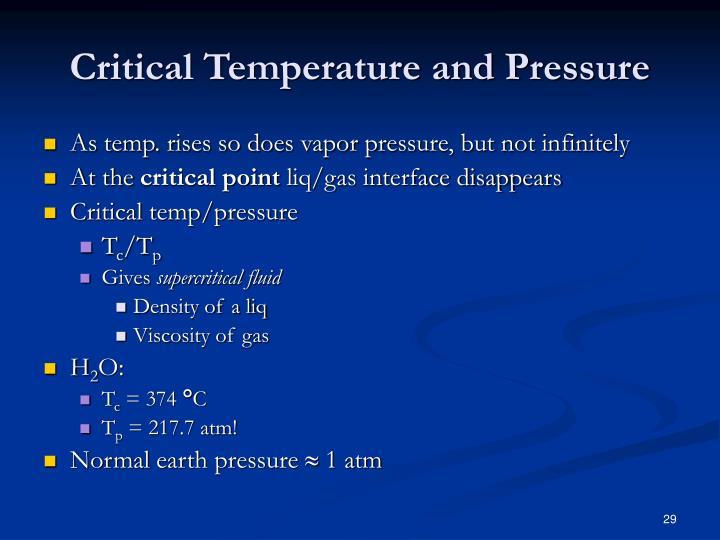 Critical Temperature and Pressure