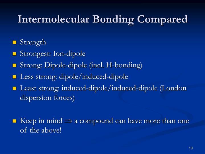 Intermolecular Bonding Compared