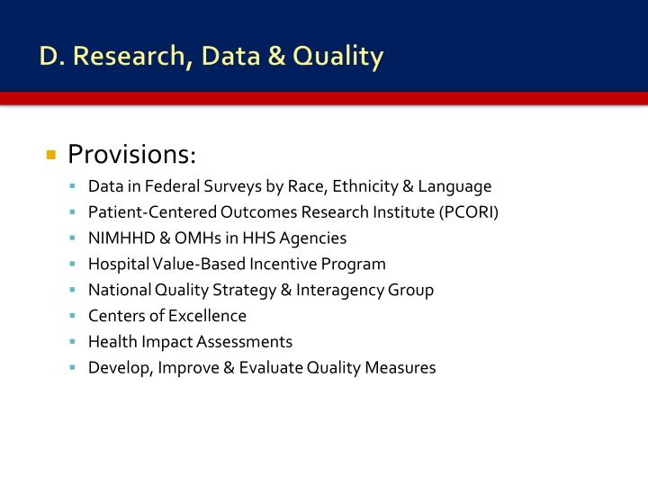 D. Research, Data & Quality