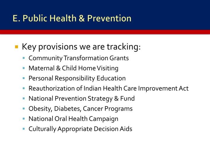 E. Public Health & Prevention