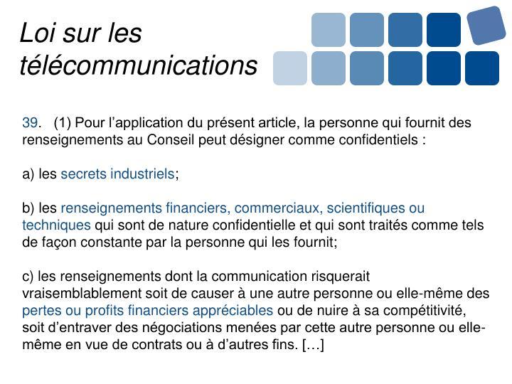 Loi sur les télécommunications