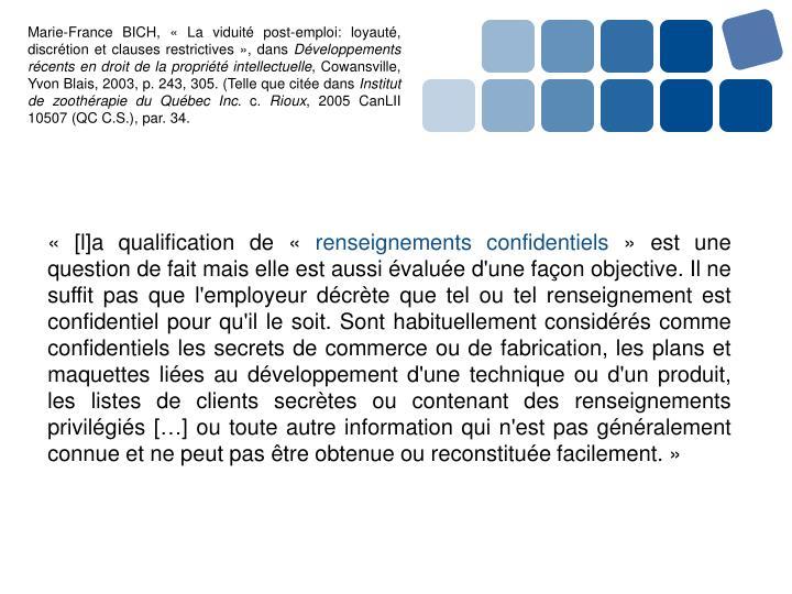 Marie-France BICH, «La viduité post-emploi: loyauté, discrétion et clauses restrictives», dans