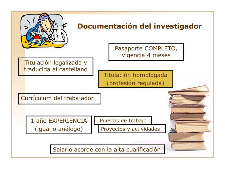 Documentación del investigador