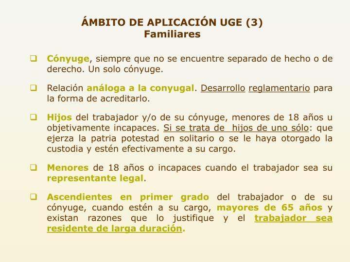 ÁMBITO DE APLICACIÓN UGE (3) Familiares
