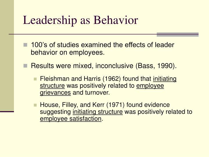 Leadership as Behavior