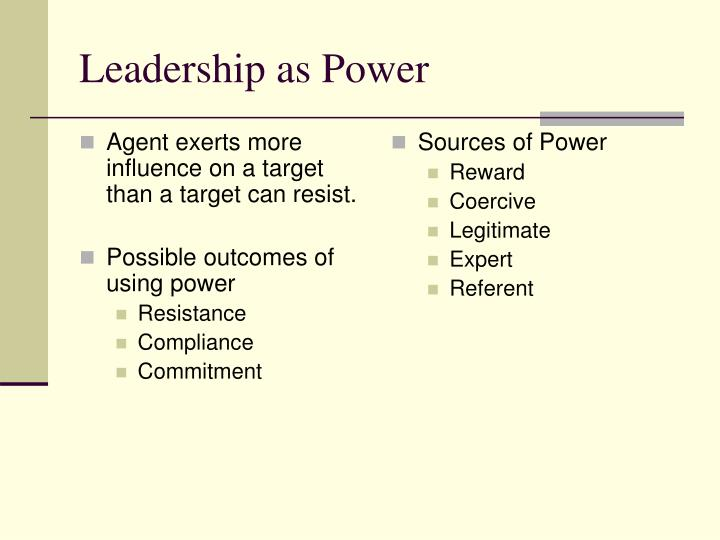 Agent exerts more influence on a target than a target can resist.