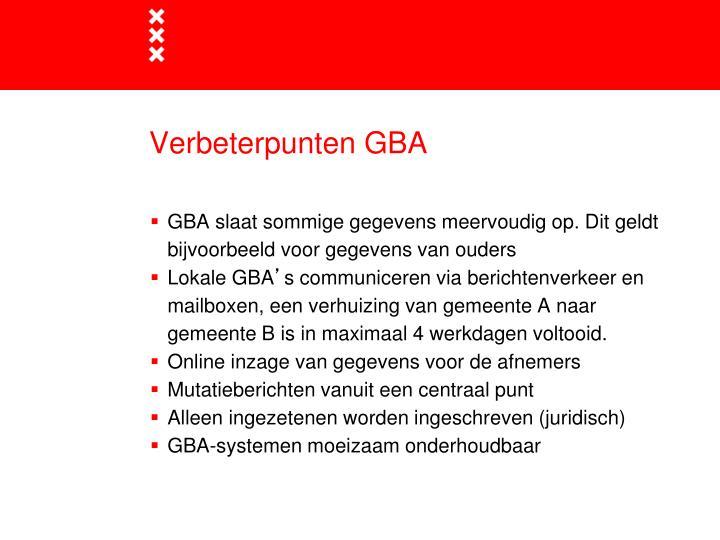 Verbeterpunten GBA