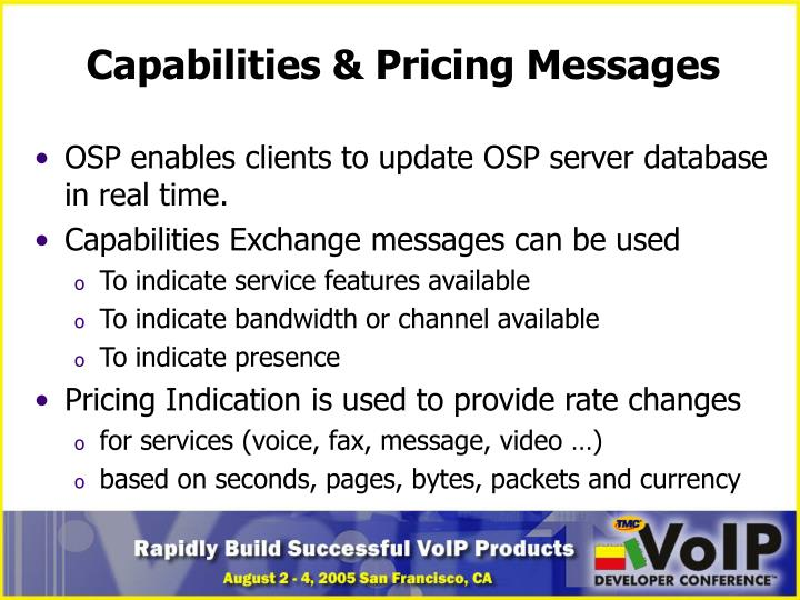 Capabilities & Pricing Messages