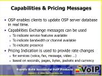 capabilities pricing messages