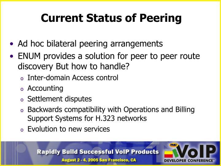 Current Status of Peering