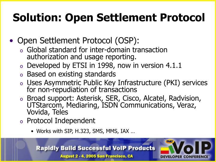 Solution: Open Settlement Protocol