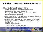 solution open settlement protocol