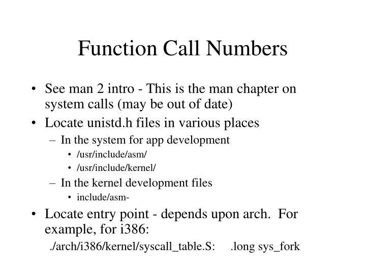 Function Call Numbers