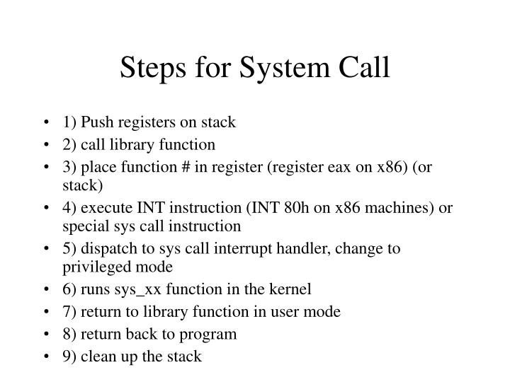 Steps for System Call