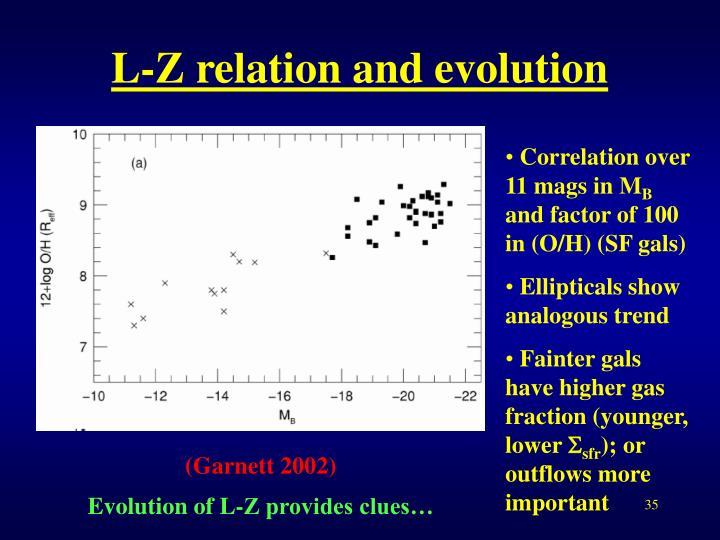L-Z relation and evolution