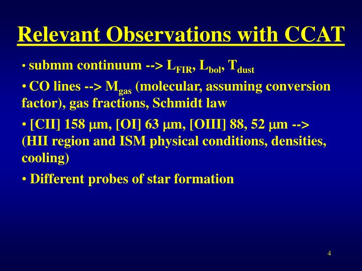 Relevant Observations with CCAT