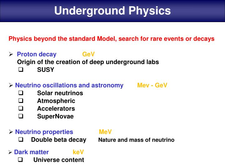 Underground Physics