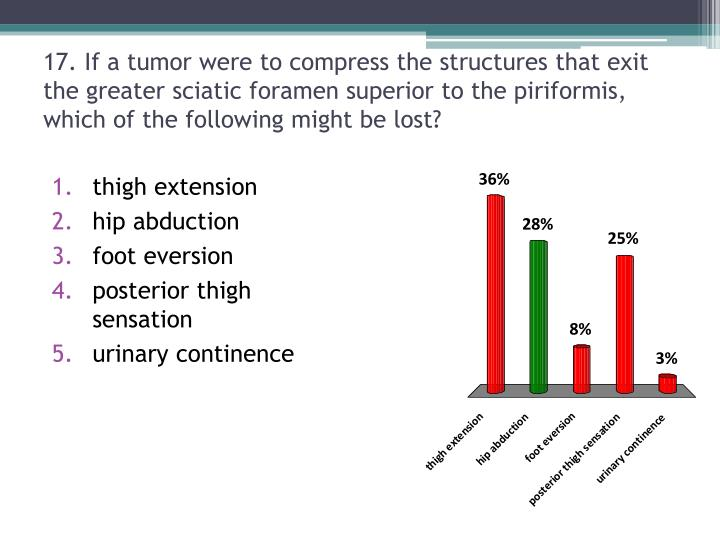 17. If a tumor were to compress the structures that exit the greater sciatic foramen superior to the piriformis, which of the following might be lost?