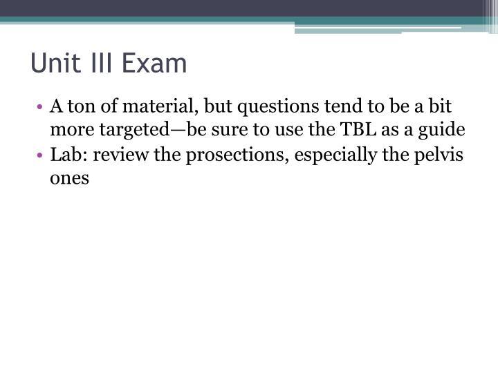 Unit III Exam