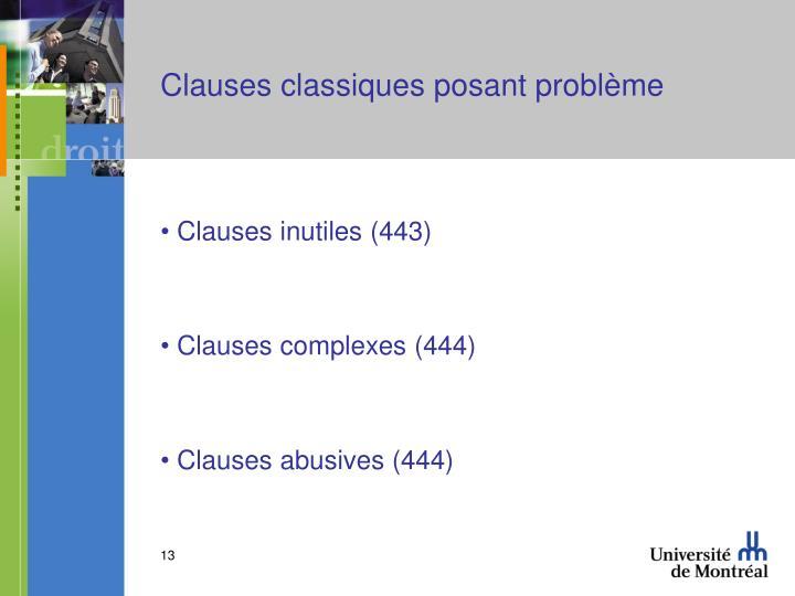Clauses classiques posant problème