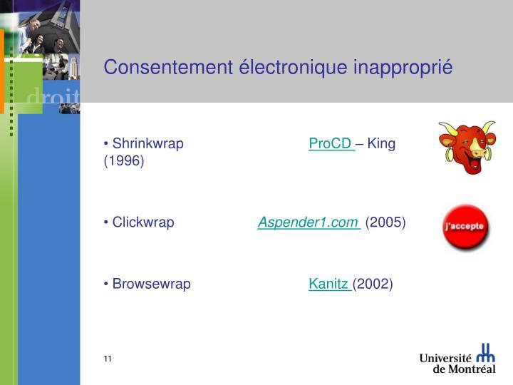 Consentement électronique inapproprié