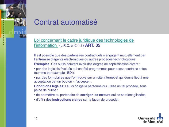 Contrat automatisé